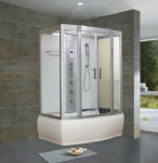 Whirlpool steam shower room with massage tub